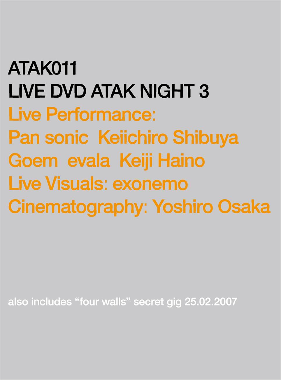 ATAK011 LIVE DVD ATAK NIGHT 3